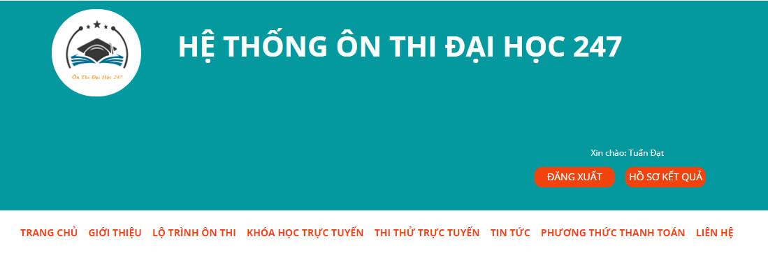 onthidaihoc247.com Website luyện đề thi Đại Học Khối A