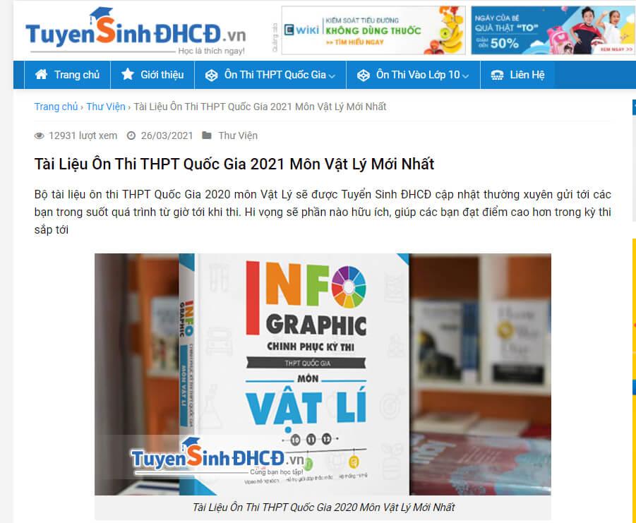 Website Luyện Đề Thi Môn Lý Đại Học Online Chuẩn
